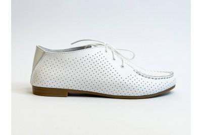 Женские кожаные белые туфли с перфорацией Арт. 440-05