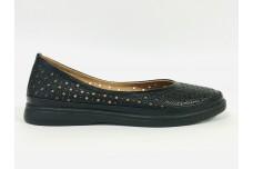 Женские черные кожаные туфли с перфорацией Арт. 510-01