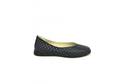 Женские синие кожаные туфли с перфорацией Арт. 510-02