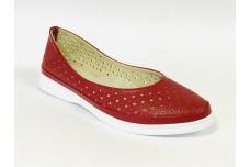 Женские красные кожаные туфли с перфорацией Арт. 510-03