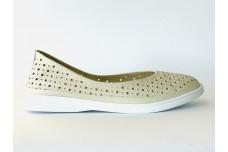 Женские бежевые кожаные туфли с перфорацией Арт. 510-04