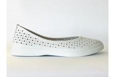 Женские белые кожаные туфли с перфорацией Арт. 510-05