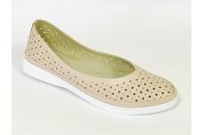 Женские кожаные туфли пудра с перфорацией Арт. 510-06
