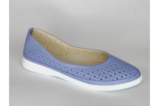 Женские голубые кожаные туфли с перфорацией Арт. 510-08