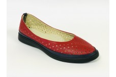 Женские красные кожаные туфли с перфорацией Арт. 510-32