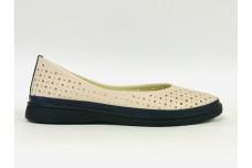 Женские кожаные туфли пудра с перфорацией Арт. 510-50