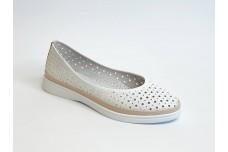 Женские белые кожаные туфли с перфорацией Арт. 510-89