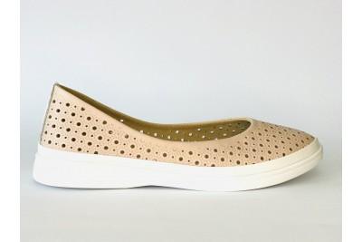 Женские кожаные туфли пудра с перфорацией Арт. 510-90