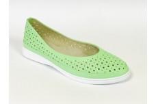 Женские зеленые кожаные туфли с перфорацией Арт. 510-99