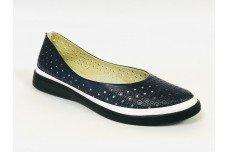 Женские синие кожаные туфли с перфорацией Арт. 510-30