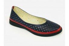 Женские синие кожаные туфли с перфорацией Арт. 510-31