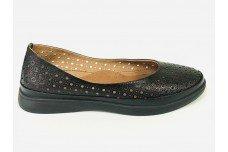 Женские черные кожаные туфли с перфорацией Арт. 510-49
