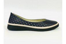 Женские синие кожаные туфли с перфорацией Арт. 510-79