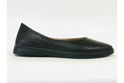 Женские черные кожаные туфли с перфорацией Арт. 512-01