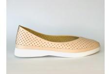 Женские кожаные туфли пудра с перфорацией Арт. 512-06