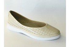 Женские бежевые кожаные туфли с перфорацией Арт. 512-04