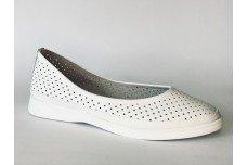 Женские белые кожаные туфли с перфорацией Арт. 512-05