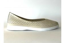 Женские бежевые кожаные туфли с перфорацией Арт. 515-04
