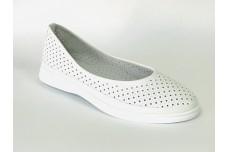 Женские белые кожаные туфли с перфорацией Арт. 515-05