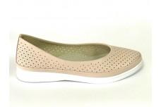 Женские кожаные туфли пудра с перфорацией Арт. 515-06