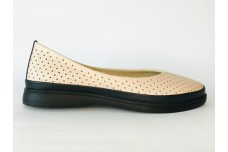 Женские кожаные туфли пудра с перфорацией Арт. 515-50