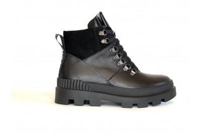 Женские зимние черные ботинки из натуральной кожи Арт. 1247-01