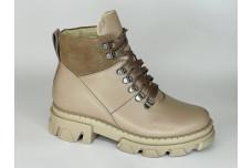 Женские зимние ботинки из натуральной кожи темный беж Арт. 1247-86