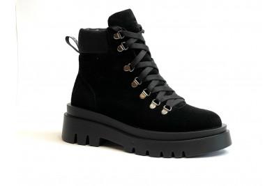 Женские зимние черные ботинки из натуральной замши Арт. 1247-96