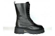 Женские черные зимние ботинки из натуральной кожи Арт. 1296-01-1