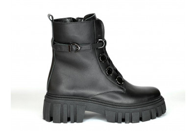 Женские зимние черные ботинки из натуральной кожи Арт. 1308-01-1