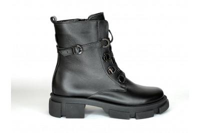 Женские зимние черные ботинки из натуральной кожи Арт. 1308-01