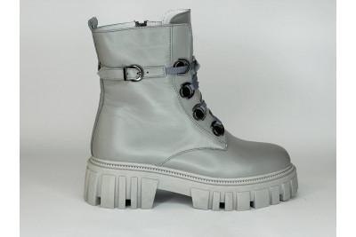 Женские зимние серые ботинки из натуральной кожи Арт. 1308-51