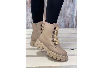 Женские бежевые зимние ботинки Арт. 1309-100