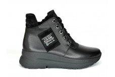 Женские зимние черные ботинки из натуральной кожи Арт. 1338-01