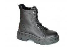 Женские зимние черные кожаные ботинки Арт. 419-01