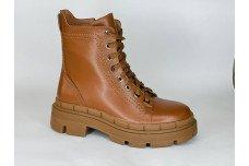 Женские зимние рыжие кожаные ботинки Арт. 419-53